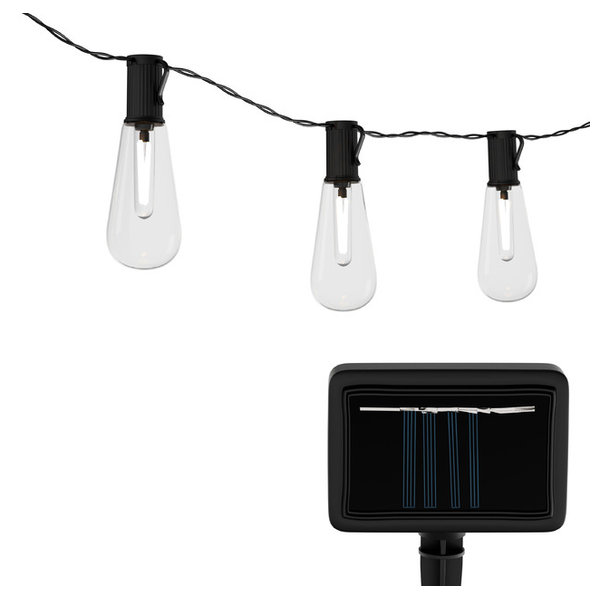 The Vintage-Style Solar String Lights by Pure Garden provide unique, welcoming lighting and makes a wonderful addition to any backyard or patio area. The solar powered lights soak up the sun\'s energy during the day and automatically turn on at night; requiring no electricity for hassle free use! The beautiful hanging lights provide a soft illuminating glow to make your space feel like an outdoor oasis and make a practical and stylish solution for any backyard, patio, porch, deck, garden, and more. The durable lights are wear resistant, weatherproof, and even snow and ice resistant for multi season use. The solar string lights have a hanging hook on the bulb for multiple display options.  The vintage-style string lights also feature two light modes (flash and steady-on) to create a pleasant mood for parties or weddings! Note: Please avoid putting under shadows from buildings, trees and walls. It is suggested the solar panel be fully charged for 6 hours at the first use.SATISFACTION GUARANTEED- Pure Garden is committed to providing the consumer with the absolute best price and value on our entire line of products, which we ensure by applying a rigorous quality control process. NOTE: This is an exclusive product of Pure Garden and ONLY Solar String Lights by Pure Garden are GUARANTEED to be genuineIMPORTANT:  Avoid buying counterfeit products and transacting with unauthorized sellers.  Look for our logo on the packaging for every one of our products.  BEAUTIFUL OUTDOOR ACCENT- The traditional string lights with vintage-style bulbs convert sunlight collected during the day to energy saving lighting at night. It is a decorative, yet practical accent that adds an inviting glow to any outdoor space.UNIQUE DECOR- The lights feature 2 lighting modes (flashing, steady on) and hanging hooks on the bulb for multiple display options. They create a unique look ideal for your backyard, patio, garden, deck, porch or even for events, parties or weddings!SOLAR POWERED- The hanging l