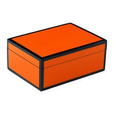 Lacquer Medium Box, Orange and Black