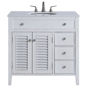 """36"""" Single Bathroom Vanity, Antique Frosted White"""