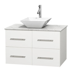 "Centra 36"" Matte White Vanity, Carrera Marble Top, Pyra White Porcelain"