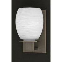 Toltec Sconce In Graphite, White Linen Glass