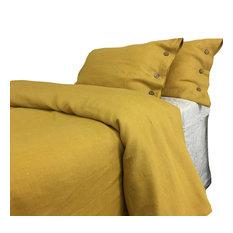 Mustard Gold Linen Duvet Cover With Wooden Buttons, King 3-Piece Set