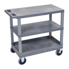 Luxor Gray 18-inchx32-inch Multipurpose Utility Cart 2-Flat/1-Tub Shelves