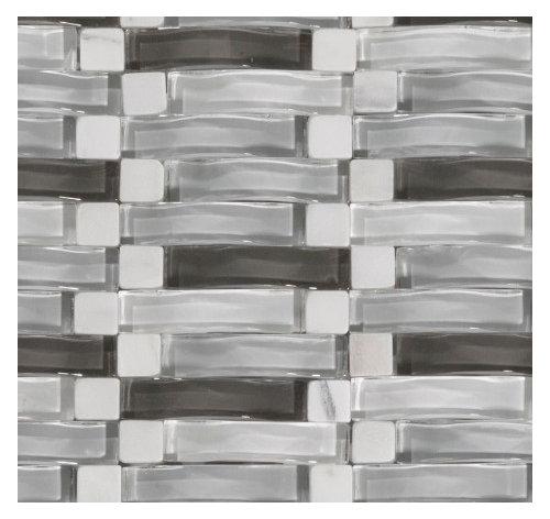 Wavy Glass Tile As Backsplash Electrical Outlet Plate