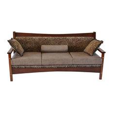 Amish Designs Furniture   Standard Finish Renwick Upholstered Sofa, Burgundy  Leather, White Oak