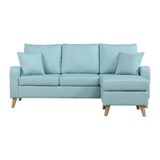 Divano Roma Furniture   Modern Fabric Small Space Sectional Sofa With  Reversible Chase, Light Blue