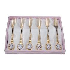 Royal Flatware 6pc Gold-Plated Lomonosov Ornament Cobalt Net Forks Set