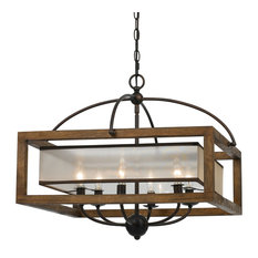 Wood Mission 6 Light Pendant with Organza Shade