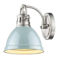 Duncan 1 Light Bath Vanity, Pewter With a Seafoam Shade, Seafoam