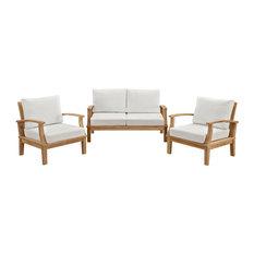 Modway - Marina 3-Piece Outdoor Patio Teak Sofa Set, Natural White - Outdoor Lounge Sets