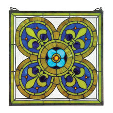 Fleur De Lis Quatrefoil Stained Glass Window
