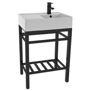 Modern Ceramic Console Sink With Counter Space and Matte Black Base, One Hole