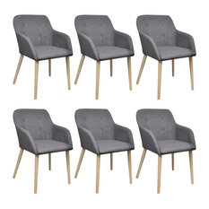 Vidaxl Set Of 6 Fabric Dining Chair With Oak Legs Dark Grey
