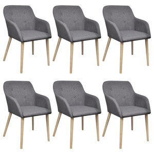 vidaXL Set of 6 Fabric Dining Chair Set With Oak Legs, Dark Grey