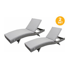 Sofamania - All-Weather Rattan Wicker Outdoor Patio Chaise Lounge Chairs, Set of 2, Gray - Outdoor Chaise Lounges