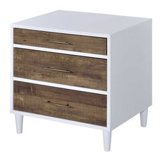 ACME Lurel 3-Drawer Nightstand, White and Weathered Oak