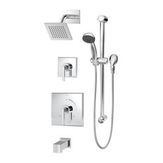 Duro 2-Handle Square Tub and Shower Faucet Trim With Hand Shower, Chrome