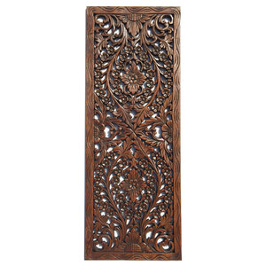 Large Floral Wood Carved Wall Panel Decoration Wall Relief Panel Asian Wall Accents By Asiana Home Decor