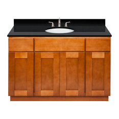 Brown Bathroom Vanity 48-inch Absolute Black Granite Top Faucet LB4B