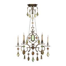 Fine Art Lamps 708940-1ST Encased Gems Bronze Multi Color Crystal 6 Light Chande
