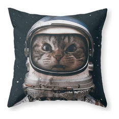"""Space Catet Throw Pillow Cover, 20""""x20"""" With Pillow Insert"""