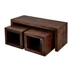 Santiago Dark Mango Wood Coffee Tables, 3-Piece Set