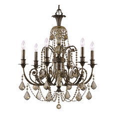 Crystorama 5116-EB-GT-MWP Regis 6-Light Golden Teak Crystal Bronze Chandelier