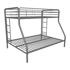 Twin Over Full Bunk Bed, Side Ladder & Guardrail, Great for Space Saving, Silver