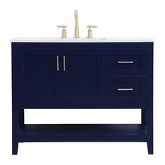 Home Living Single 42-inch Bathroom Vanity (Blue)