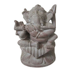 Mogul Interior - Consigned Musical Ganesha Statue Playing Flute Stone Sculpture - Decorative Objects And Figurines