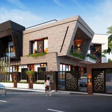 3D elevation view of modern bungalow design