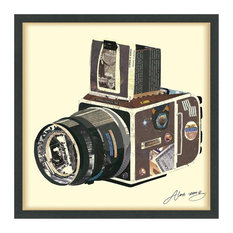 """SLR Camera"" Hand Made Dimensional Collage Framed Wall Art Under Glass"