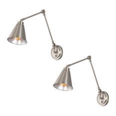 "Kira Home Ellis 18"" Wall Lamp, Plug In/Wall Mount, 2-Pack, Brushed Nickel"