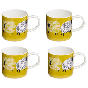 """Dotty Sheep"" Bone China Mugs, Set of 4"