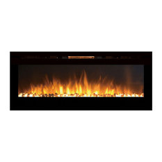 GL2060WS Reno 60 Inch Pebble Built-In Wall Mounted Fireplace - 3 Heat Settings