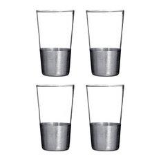 Premier Housewares - Premier Housewares Apollo Set of 4 Hi Ball Glasses, Silver - Cocktail Glasses