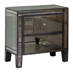 Gray Brown With Antique Mirror 2 Drawer Nightstand