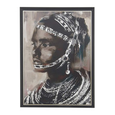 Rustic Wooden Framed Painted Tribal Girl on Canvas Wall Art