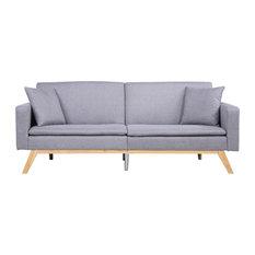 Modern Tufted Linen Splitback Recliner Sleeper Futon Sofa, Light Grey