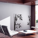 WALLTAT - Bamboo, Black, 35 X 36, Reverse - Bamboo Wall Decals will bring bold Asian flair to any room of the home or office.  Allow this wall decal to accent the corner window or position each side anywhere along your window or mirror.  Like nature, this bamboo appears to have grown upward towards the sun. Allow them to sprout out from the window molding, glass track, behind curtains or chairs. Position the two pieces to fit any room. Available on Houzz in Size A in Black Reverse Orientation. Convert your walls into interesting landscapes in minutes with WALLTAT Wall Decals. Made in the U.S.A.