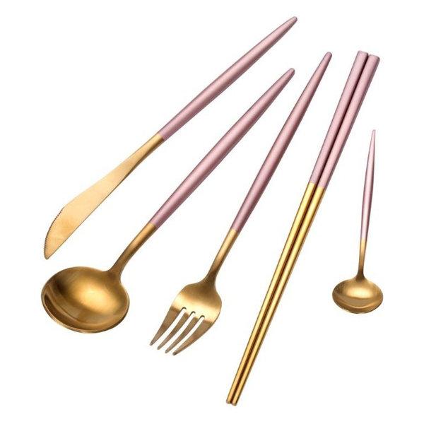 20-Piece Sakura Pink Gold Stainless Steel Silverware Set, 4 Settings