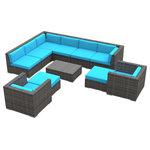 Urban Furnishing - Aruba Outdoor Patio Furniture Sofa Sectional, 11-Piece Set, Sea Blue - - Designer Gray Wicker Pattern