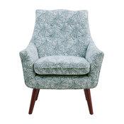 Delta Mid-Century Modern Arm Chair, Blue Modern Outline Floral