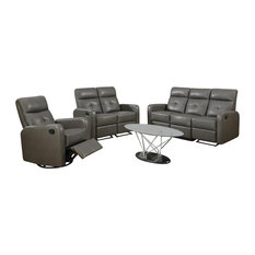 Monarch Specialties   Monarch Specialties Reclining, Sofa Charcoal Gray  Bonded Leather, I85GY 3