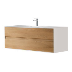 Eviva Elisa 32-inch White And Oak Wall Mount Bathroom Vanity