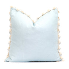 """Baby Blue Linen Pillow Cover with Cream Ball Fringe, 20""""x20"""""""