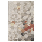 Jaipur Living - Jaipur Living Combs Handmade Geometric Light Gray/Orange Area Rug, 9'x13' - With a whimsical spirit and sophisticated flair, the Genesis collection features an assortment of hand-tufted rugs sure to liven any contemporary home. Punctuated by bold and neutral hues, the Combs design's geometric motif calls on mid-century modern style. Rust red, orange, and hints of gold accent the neutral gray tones for a unique colorway on this plush, ultra-soft accent.