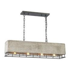 Brocca 4-Light Chandelier, Silverdust Iron/Concrete Gray