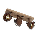 Sturdy Spotlight 3 Rust with Wood Base - Gina