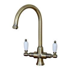 Enki Dorchester Kitchen Sink Mixer Tap Lever Dual Flow, Antique Bronze